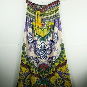 Flying Tomato Smocked Strapless Boho Maxi Dress L